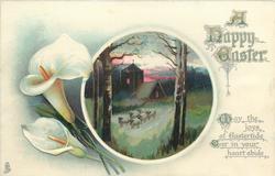A HAPPY EASTER  sheep & church, calla lilies
