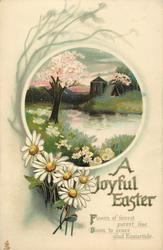 A JOYFUL EASTER  blossom tree, river, church, daisies
