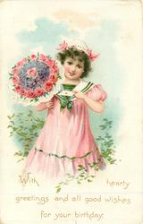 WITH HEARTY GREETINGS AND ALL GOOD WISHES FOR YOUR BIRTHDAY girl in pink holds bouquet & letter