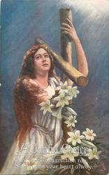 A JOYFUL EASTER  girl left of wooden cross, lilies