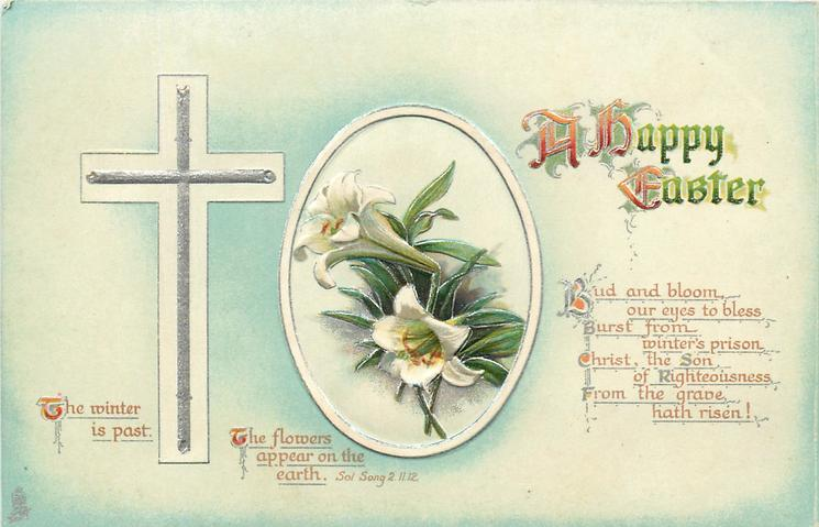 A HAPPY EASTER  Easter lilies, biblical quote