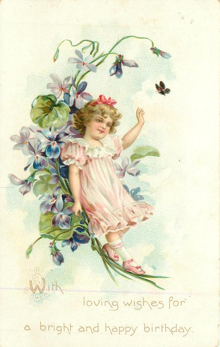 WITH LOVING WISHES FOR A BRIGHT AND HAPPY BIRTHDAY flower girl in pink backs against violets