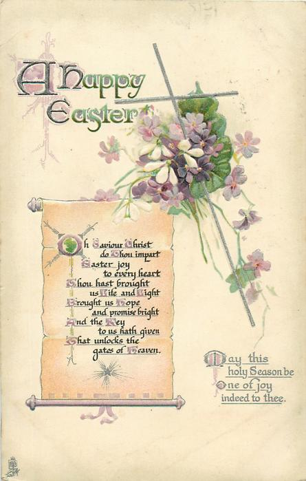 A HAPPY EASTER  (scroll) verse, violets