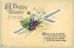 A HAPPY EASTER  bible quote, violets, narcissi &