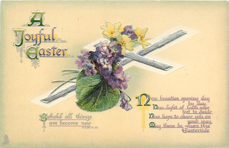 A JOYFUL EASTER  bible quote, violets & primroses