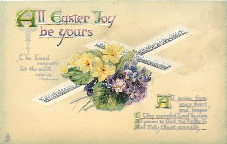 ALL EASTER JOY BE YOURS  bible quote  violets & primroses