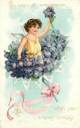 IN TOKEN OF REMEMBRANCE TO WISH YOU A HAPPY BIRTHDAY  angel in bunch of blue violets, pink ribbon