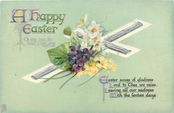 A HAPPY EASTER  bible quote, violets, narcissi, primroses