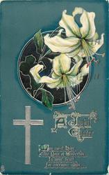 A JOYFUL EASTER  lilies deep green background