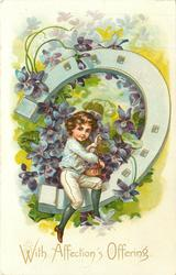 WITH AFFECTIONS OFFERING boy sits on exaggerated horseshoe picking violets