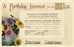 18  FOR THE 18TH. OF THE MONTH.  BIRTHDAY GREETINGS