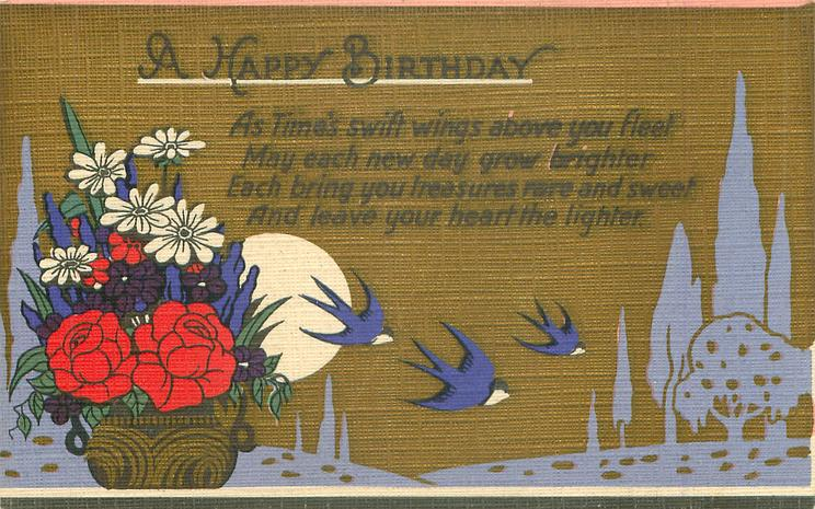A HAPPY BIRTHDAY  3 blue birds fly right, flowers left, brown sky