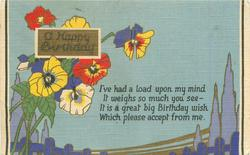 A HAPPY BIRTHDAY  stylized pansies left, blue sky