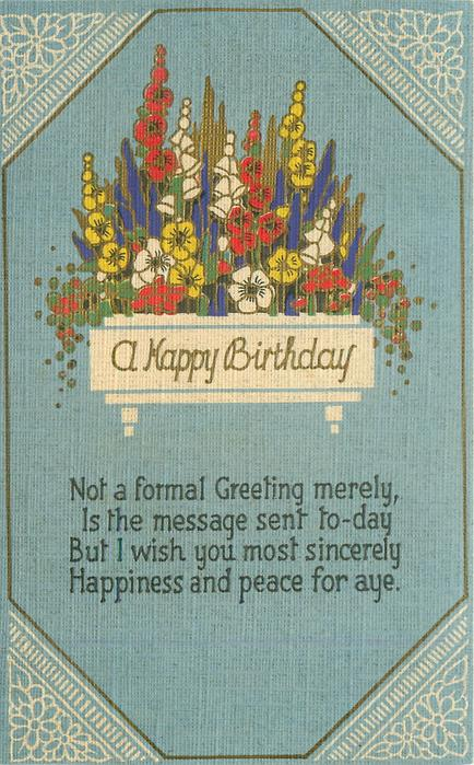 A HAPPY BIRTHDAY  stylized flowers, blue sky