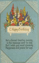A HAPPY BIRTHDAY  stylized flowers, blue sky