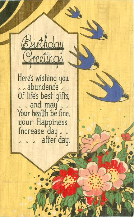 BIRTHDAY GREETINGS  stylized flowers, 4 blue swallows, flowers, yellow sky