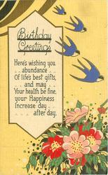 BIRTHDAY GREETINGS  stylized flowers, 4 blue swallows, flowers, yellow sky