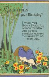 GREETINGS ON YOUR BIRTHDAY  stylized trees & flowers, blue sky, gilt sun behind 2 blue birds