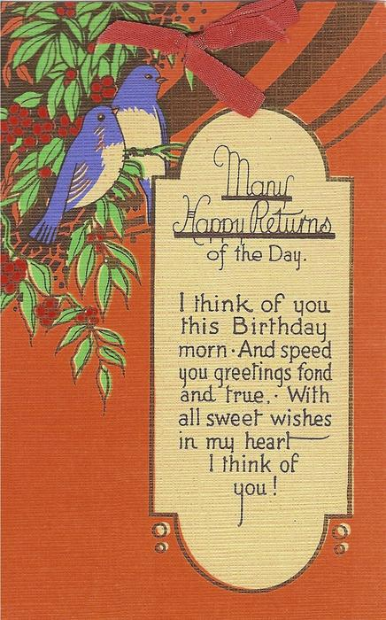 MANY HAPPY RETURNS OF THE DAY  stylzed tree & 2 bluebirds upper left, orange sky