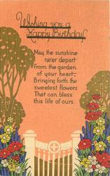WISHING YOU A HAPPY BIRTHDAY  stylzed tree, flowers & gate, orange sky