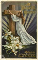 A PEACEFUL EASTER  girl, wooden cross, narcissi