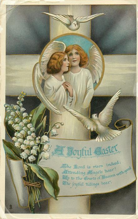 A JOYFUL EASTER  inset of two angels in front of cross, two doves, lilies-of-the-valley
