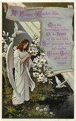 A HAPPY EASTER-TIDE  angel picking lilies, two doves