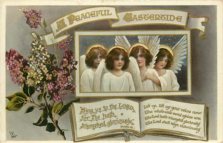 A PEACEFUL EASTERTIDE  four angels, lilac