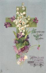 TO WISH YOU A JOYFUL EASTER  violets, lilies-of-the-valley