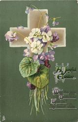 A JOYFUL EASTER  violets, deep green background