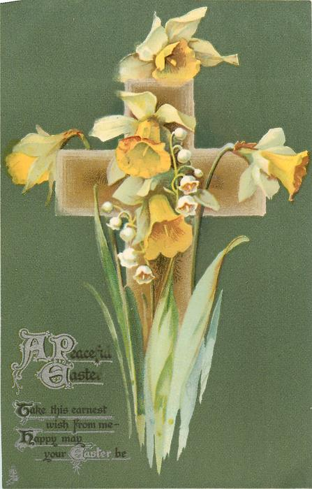 A PEACEFUL EASTER  daffodils, deep green background