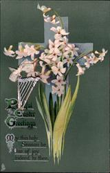 PEACEFUL EASTER GREETINGS  white hyacinths, deep green background