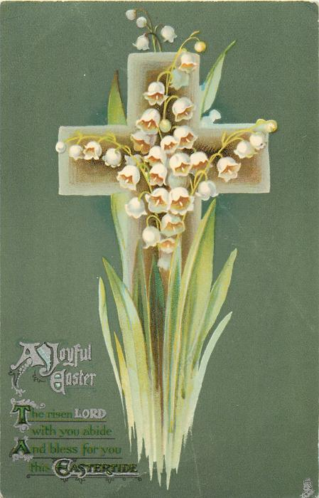 A JOYFUL EASTER  lilies-of-the-valley, deep green background