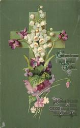 TO WISH YOU A JOYFUL EASTER  lilies-of-the-valley, violets, deep green background