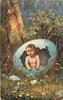 boy hatching from large blue egg, country scene, large tree left, primroses