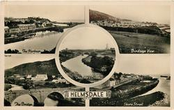 5 insets THE HARBOUR/BIRDS EYE VIEW/THE RIVER AND CASTLE/THE BRIDGE/SHORE STREET