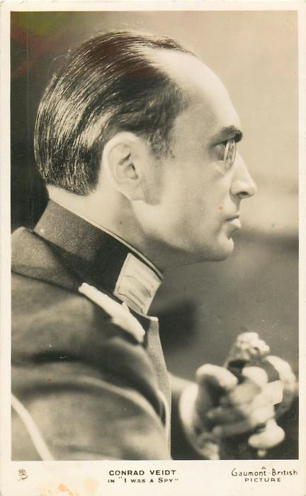"""CONRAD VEIDT IN """"I WAS A SPY""""  looks & faces right, wears monocle"""