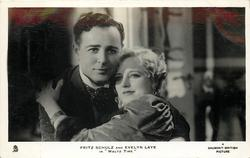 "FRITZ SCHULZ AND EVELYN LAYE IN ""WALTZ TIME""  they are hugging, both looks front"