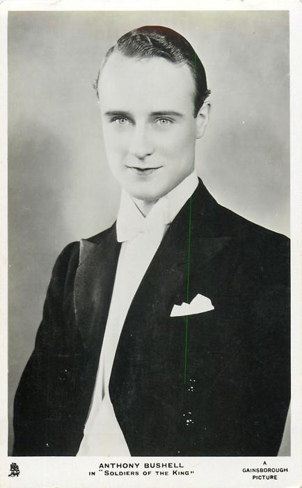 "ANTHONY BUSHELL IN ""SOLDIERS OF THE KING""  wears elegant suit, white bow tie"