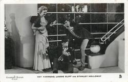 KAY HAMMOND, LADDIE CLIFF AND STANLEY HOLLOWAY Movie Sleeping Car two men & woman, all with musical instruments