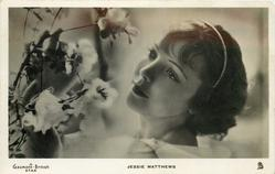 JESSIE MATTHEWS  head only, she looks left at flowers