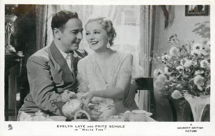"""EVELYN LAYE AND FRITZ SCHULZ IN """"WALTZ TIME""""  his left hand aruond her"""