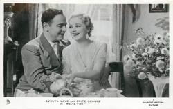 "EVELYN LAYE AND FRITZ SCHULZ IN ""WALTZ TIME""  his left hand aruond her"