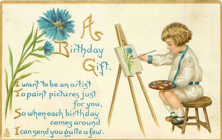 A BIRTHDAY GIFT  boy sits painting, cornflowers