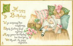 A HAPPY BIRTHDAY  girl sleeps cuddling doll, pink roses