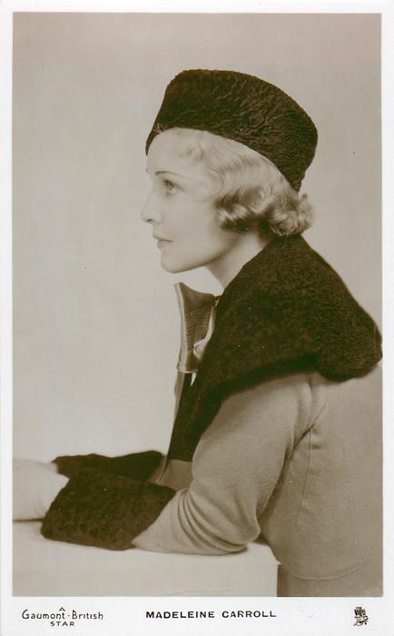 MADELEINE CARROLL  half length study, looks & faces left, wears hat, coat