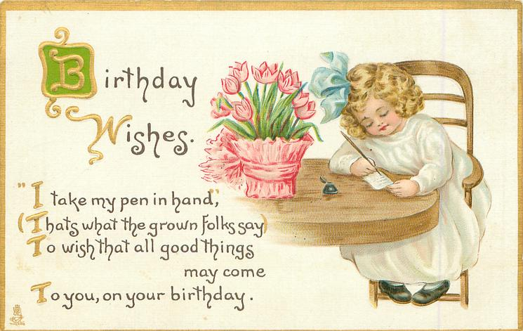 BIRTHDAY WISHES girl sits writing, pot of tulips on table