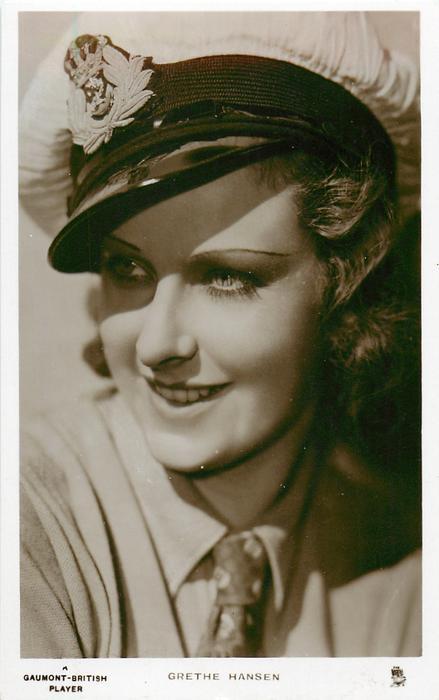 GRETHE HANSEN  she looks left, wears tie & sailor hat