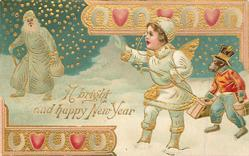 A BRIGHT AND HAPPY NEW YEAR  new year angel with personised monkey waves the old year goodbye