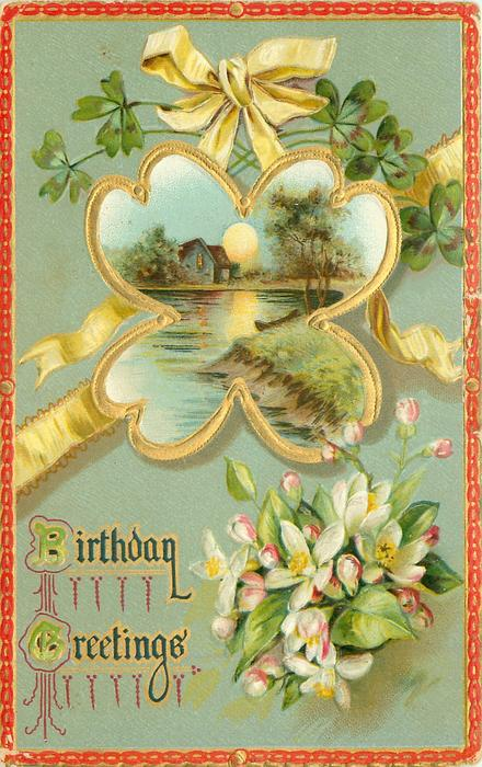 blossom, clover shaped inset, house behind water, full sun